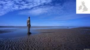 mutum-mutumin Anthony Gormley, Crosby Beach, Merseyside, England
