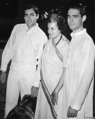 राजीव गांधी, इंदिरा गांधी और संजय गांधी.