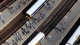 Stasiun London Bridge dilihat dari The Shard