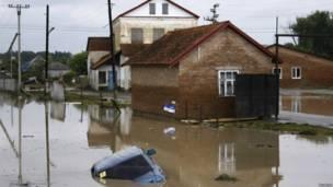 Затопленная улица в Новоукраинске