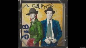 David Bowie e William Burroughs. Foto de Terry O'Neill. Colorização à mão de David Bowie