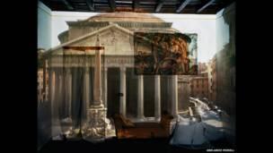Câmera Escura: O Pantheon fotografado no Hotel Albergo Del Sole, quarto 111, Roma, Itália, 2008