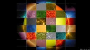 Imagem do Sol em forma de grade. Nasa / SDO AIA Team