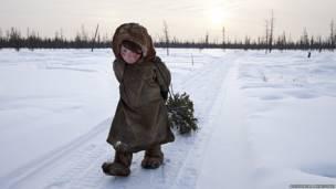 Orang Nenet berjalan melintasi salju karya Alessandra Meniconzi