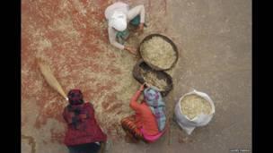 Mujeres en Nepal cuelan granos