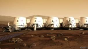 Colônia do projeto 'Mars One'   Ilustração: divulgação