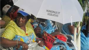 Un meeting électoral du CPDM à Yaoundé en vue des législatives et des municipales. 28 09 2013 Photo AFP