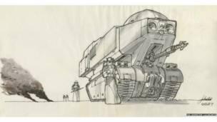 Joe Johnston: Imperial tank. Concept art for The Empire Strikes Back