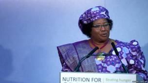 La presidenta de Malawi, Joyce Banda, en una cumbre sobre el hambre en el mundo en el centro de Londres el 8 de junio de 2013. AFP