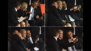 Imágenes de David Cameron y Barack Obama en el momento en que Helle Thorning Schmidt toma una autofoto en su teléfono, durante la ceremonia conmemorativa Mandela el 10 de diciembre de 2013. AFP