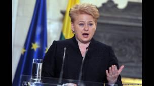 La presidenta de Lituania, Dalia Grybauskaite, da una rueda de prensa conjunta con el primer ministro griego en Atenas el 11 de diciembre de 2013, después de una reunión centrada en los resultados de la presidencia lituana de la Unión Europea. AFP