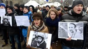 Акция в память погибших во Львове.