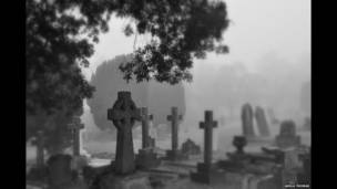 बीबीसी पाठकों की भेजी तस्वीरें, कोहरे में लिपटा कब्रिस्तान
