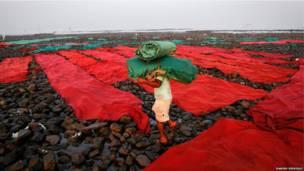 अरब सागर के तट पर शादी-ब्याह में बिछने वाले कालीन