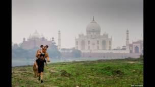 Goldstein entrenando cerca del Taj Mahal, en India