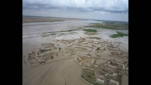 سیلاب کے فضائی منظر۔