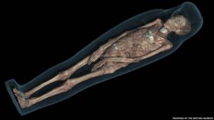 CT scan 3D visualisation of the mummified remains of Tayesmutengebtiu, also called Tamut, showing her skeleton and amulets. © Trustees of the British Museum