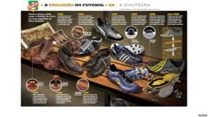 """Exposição de design contemporâneo brasileiro inspirado pelo futebol está no Museu Nacional do Futebol em Manchester, na Inglaterra. Foto: Infográficos """"A Evolução do Futebol"""", da revista Placar"""