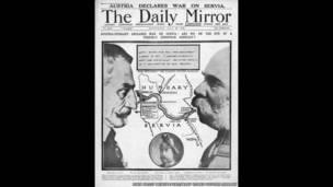 Diario británico informa sobre la declaración de guerra austro-húngara