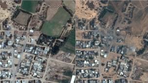 Franja de Gaza antes y después de los ataques israelíes