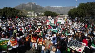 Protesta en Ciudad del Cabo, Sudáfrica