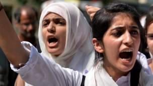 पाकिस्तान में छात्राओं की रैली