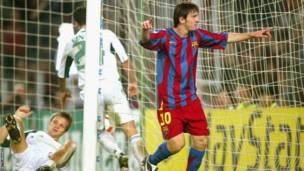 Lionel Messi bakina na Panathinaikos mu 2005