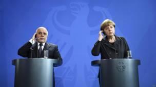 इराक़ के प्रधानमंत्री हैदर अल-अबादी और जर्मन चांसलर