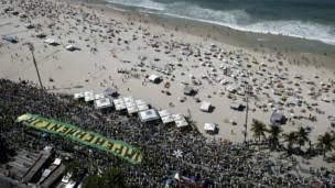 Manifestantes a favor del juicio político a la presidenta de Brasil.