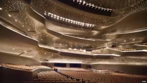 चीन स्थित ग्वांगज़ो ऑपेरा हाउस. रीबा