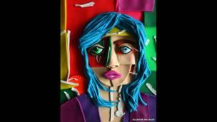 (صورة شخصية لشخصية ذات شعر أزرق، 2013، دانييل جوردون الذي أعطى حق تجسيدها باستخدام معجون النحت لإليانور لتعيد غنتاجها ثم تصورها)
