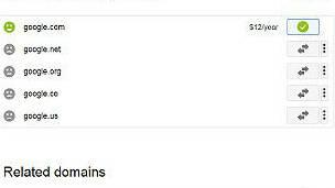 Captura de pantalla que mostraba cómo el dominio de Google estaba a la venta.