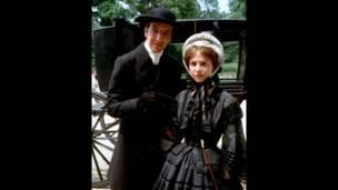 Alan Rickman ve Janet Maw, the Barchester Chronicles setinde, BBC