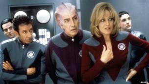 Tim Allen, Alan Rickman, Sigourney Weaver ve Patrick Breen, Galaxy Quest, 1999. ALAMY