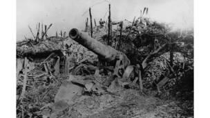 مدفع ألماني عيار 150، من مخلفات معركة السوم.