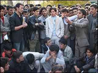 تظاهرات دانشجویان در دانشگاه کابل