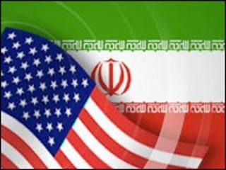 پرچم های ایران و آمریکا