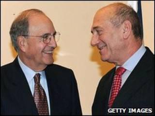 George Mitchell e Ehud Olmert em Jerusalém
