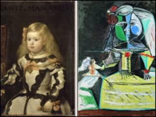 'A Infanta Margarita', de Vélazquez, e 'A Infanta Maria Margarita', de Picasso (Museu Picasso, Barcelona)