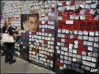 Mural com mensagens pedindo a libertação de Shalit