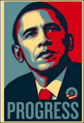 O cartaz de Obama, de autoria de Shepard Fairey, em exibição na exposição Brit Insurance Designs of the Year, Londres, www.designmuseum.org