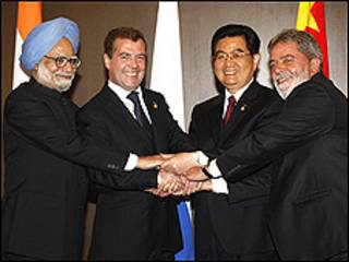 Líderes de Índia, Rússia, China e Brasil durante encontro em 2008, no Japão