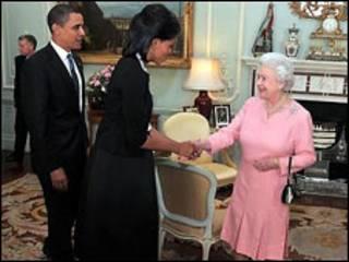 باراک و میشل اوباما در مقابلات با ملکه الیزابت