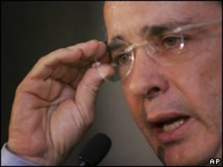O presidente da Colômbia, Álvaro Uribe. Foto AP