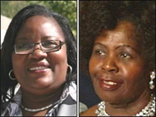 Ida Odinga (esq) e Lucy Kibaki (dir)