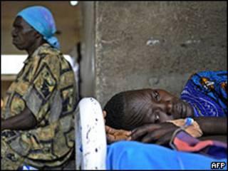 Enfermo de malaria en Sudan.