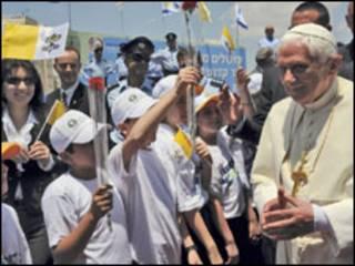 papa Bento 16 na chegada a Israel