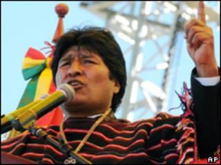 O presidente da Bolívia, Evo Morales, durante comemorações dos 200 anos de independência do país, nesta segunda-feira (AFP)