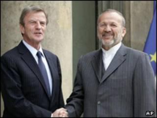 کوشنر و متکی وزیران خارجه فرانسه و ایران