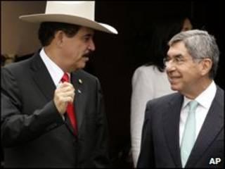 Manuel Zelaya e Oscar Arias na Costa Rica